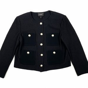 St. John Caviar Santana Knit Jacket Sz 8